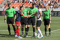 Houston, TX - Sunday Oct. 09, 2016: Ali Krieger, Abby Erceg, Matthew Franz, Alicia Messer, Nick Uranga, Margaret Domka prior to the National Women's Soccer League (NWSL) Championship match between the Washington Spirit and the Western New York Flash at BBVA Compass Stadium. The Western New York Flash win 3-2 on penalty kicks after playing to a 2-2 tie.