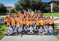 Group photo of O-Team members on Aug. 19, 2019 at Gilman Fountain.<br /> Occidental College's O-Team are the primary ambassadors to new students (first-year or transfer students) during Orientation Week and work very hard to keep new students on schedule with spirits high.<br /> (Photo by Marc Campos, Occidental College Photographer)