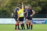 Danny Kenny of London Scottish (right) is sent off for a high tackle during the Greene King IPA Championship match between London Scottish Football Club and Hartpury RFC at Richmond Athletic Ground, Richmond, United Kingdom on 28 October 2017. Photo by David Horn.