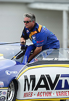 Sept. 1, 2012; Claremont, IN, USA: NHRA pro stock driver Rodger Brogdon during qualifying for the US Nationals at Lucas Oil Raceway. Mandatory Credit: Mark J. Rebilas-