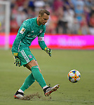 Manuel Neuer (1) of Bayern Munic kicks the ball during their International Champions Cup match against Milan on July 23, 2019 at Children's Mercy Park in Kansas City, KS.<br /> Tim VIZER/AFP