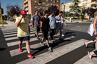 Latina, July 22, 2018. Edoardo D'Erme, better known as Calcutta, walks in latina with his band the day after his concert at Latina, the city where he was born.