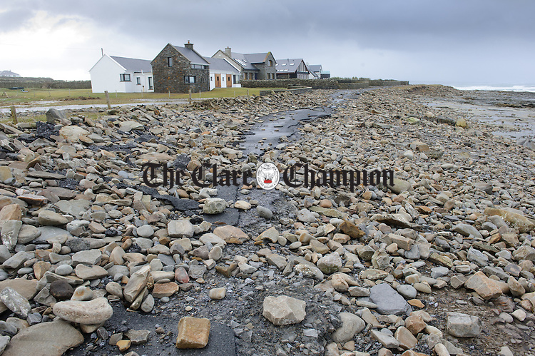 Sea stones scattered on the damaged  road at Clahane Liscannor as a result of Storm Imogen. Photograph by John Kelly.