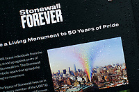 NEW YORK, NY - JUNE 18: A poster is seen at the historical landmark Tavern The Stonewall Inn on June 18, 2019 in New York. The Stonewall riots were a series of violent demonstrations by members of the gay (LGBT) community against a police raid starting June 28, 1969, at the Stonewall Inn at the Greenwich Village neighborhood of Manhattan, . (Photo by STRKB/VIEWpress)