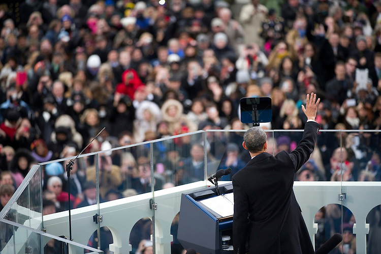 UNITED STATES - JANUARY 21: U.S. President Barack Obama speaks after being sworn-in at the inauguration for his second term of office. More than 600,000 people attended the event. (Photo By Chris Maddaloni/CQ Roll Call)