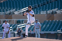 Salt River Rafters starting pitcher Ryan Atkinson (34), of the Arizona Diamondbacks organization, delivers a pitch to the plate during an Arizona Fall League game against the Mesa Solar Sox on October 30, 2017 at Salt River Fields at Talking Stick in Scottsdale, Arizona. The Solar Sox defeated the Rafters 8-4. (Zachary Lucy/Four Seam Images)