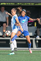 Allston, MA - Saturday August 19, 2017: Alex Morgan, Margaret Purce during a regular season National Women's Soccer League (NWSL) match between the Boston Breakers and the Orlando Pride at Jordan Field.