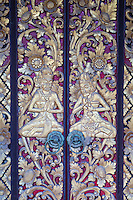 Bali, Indonesia.  Carved Door at Entrance to Hindu Priest's House, Family Residential Compound, Klungkung, Semarapura