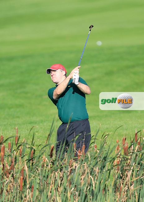 Stephen Galvin (Curragh G.C) on the 15th during Round 1 of The Cassidy Golf 103rd Irish PGA Championship in Roganstown Golf Club on Thursday 10th October 2013.<br /> Picture:  Thos Caffrey / www.golffile.ie