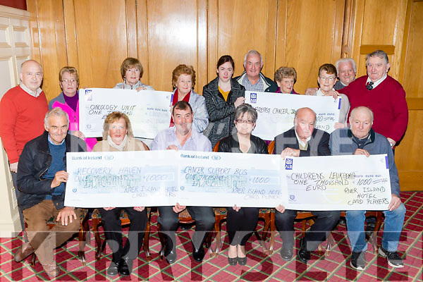 Castleisland card players presents cheques to five charities Cancer Support bus, Childrens Lukemia, Breast Cancer, Onocolgy Unit and Recovery Haven in the River Island Hote on Sunday night front row l-r: Timmy Brosnan, Marian Barnes, Donie Crmin, Breda Dyland, John O'Sullivan and Neilie Shanahan. Back row, John O'Connell, Norrie O'Connor, Dolly McAulliffe, Catherine O'Connor, Trish Kelly, Dan Buckley, Peggy Flynn, Mary Barrett, Willie Woulfe Patrick O'Mahony