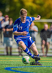28 September 2013: Hartwick College Hawk Forward Dean Fowler, a Sophomore from Sydney, Australia, in action against the University of Vermont Catamounts at Virtue Field in Burlington, Vermont. The Catamounts shut out the visiting Hawks 1-0. Mandatory Credit: Ed Wolfstein Photo *** RAW (NEF) Image File Available ***