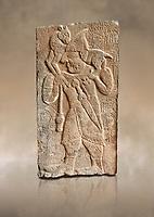 Pictures & images of the North Gate Hittite sculpture stele depicting Hittite man with a sheep on his shoulders. 8th century BC. Karatepe Aslantas Open-Air Museum (Karatepe-Aslantaş Açık Hava Müzesi), Osmaniye Province, Turkey. Against art background
