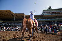 ARCADIA, CA - APRIL 07: Justify #6 with Mike Smith celebrate winning the Santa Anita Derby at Santa Anita Park on April 07, 2018 in Arcadia, California.(Photo by Alex Evers/Eclipse Sportswire/Getty Images)