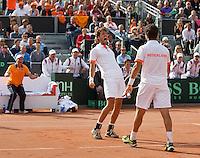 15-09-12, Netherlands, Amsterdam, Tennis, Daviscup Netherlands-Suisse, Doubles, Robin Haase/Jean-Julian Rojer(R) in jubilation