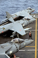 "- Italian Navy, Garibaldi aircraft carrier, vertical take-off aircraft AV-8B ""Harrier""....- Marina militare italiana, portaerei Garibaldi, aerei a decollo verticale AV-8B ""Harrier"""