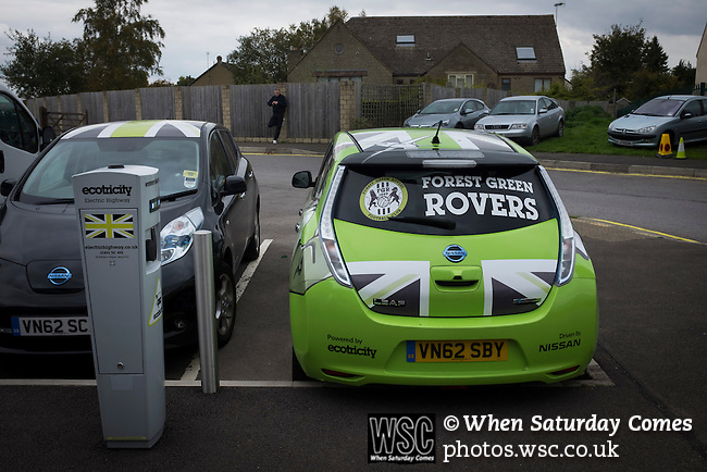 Forest Green Rovers 0 Tranmere Rovers 2, 17/10/2015, New Lawn, National League. An electric car in club colours parked outside the New Lawn, home to Forest Green Rovers, prior to their match against Tranmere Rovers in the National League. The club is based in the village of Nailsworth in Gloucestershire and is owned by businessmen Dale Vince who doesn't allow meat products to be sold to supporters in the ground. The visitors from Merseyside won this game by 2-0 but the hosts remained top of the division. Photo by Colin McPherson.