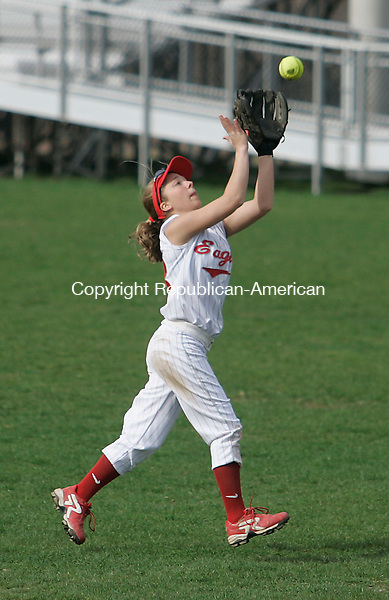 WATERBURY, CT - 26 APRIL 2007 - 042607JW03.jpg -- Wolcott #13 Ashley Morris makes a catch against Sacred Heart during Sacred Hearts loss to Wolcott 18-0 at Municipal Stadium Thursday afternoon. Jonathan Wilcox Republican-American