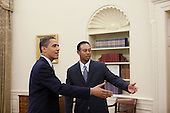 Washington, DC - April 20, 2009 -- United States President Barack Obama greets professional golfer Tiger Woods in the Oval Office Monday, April 20, 2009. The 14-time major winner visited the White House Monday following a press conference for the AT&T National, the PGA Tour event Woods hosts at Congressional Country Club in Potomac, Maryland June 29-July 5..Credit: Pete Souza - White House via CNP.