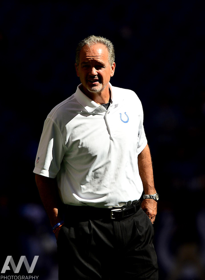Sep 28, 2014; Indianapolis, IN, USA; Indianapolis Colts head coach Chuck Pagano prior to the game against the Tennessee Titans at Lucas Oil Stadium. Mandatory Credit: Andrew Weber-USA TODAY Sports