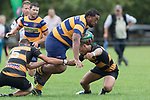 James Tupou looks to bust between Daniel Stol and Liam Daniela. Premier Counties Power Club Rugby Round 3, Counties Power Game of the Week, between Patumahoe and Bombay, played at Patumahoe on Saturday March 24th 2018. <br /> Photo by Richard Spranger.<br /> <br /> Patumahoe Counties Power Cup Holders won the game 26 - 23 after trailing 7 - 23 at halftime.<br /> Patumahoe 26 - Penalty try, Richard Taupaki, Theodore Solipo, Craig Jones tries; Riley Hohepa 2 conversions. <br /> Bombay 23 - Shaun Muir, Jordan Goldsmith, Liam Daniela, tries; Tim Cossens conversion; Tim Cossens 2 penalties.