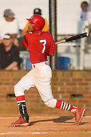 Yunier Castillo #7 of the Johnson City Cardinals follows through on his swing versus the Burlington Royals at Howard Johnson Stadium June 27, 2009 in Johnson City, Tennessee. (Photo by Brian Westerholt / Four Seam Images)