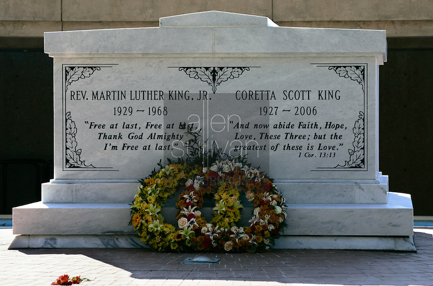A new crypt, dedicated on Monday, Nov. 20, contains the remains of Dr. Martin Luther King Jr. and his wife, Coretta Scott KIng, at the Martin Luther King, Jr. National Historic Site on Auburn Avenue. Dr. King's body was in a smaller crypt at the same site for decades since shortly after his assassination in 1968. Mrs. King, who died in January at 78 years old, was buried in a temporary grave until the larger crypt was ready.<br />
