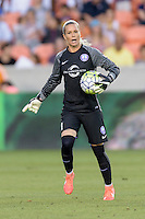 Ashlyn Harris (1) of the Orlando Pride gives her team instructions in a game against the Houston Dash on Friday, May 20, 2016 at BBVA Compass Stadium in Houston Texas. The Orlando Pride defeated the Houston Dash 1-0.