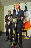 Mayor Bill de Blasio of New York City, right, and NYPD Deputy Commissioner of Intelligence & Counter-terrorism John Miller hold a press briefing following their meetings at the White House with senior officials on the terrorism threat and dealing with the Ebola crisis in Washington, D.C. on Tuesday, October 14, 2014. <br /> Credit: Ron Sachs / CNP<br /> (RESTRICTION: NO New York or New Jersey Newspapers or newspapers within a 75 mile radius of New York City)