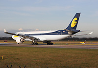 A Jet Airways Airbus A330-302 Registration VT-JWU at Manchester Airport on 11.2.19 going to Mumbai Chhatrapati Shivaji International Airport, India.