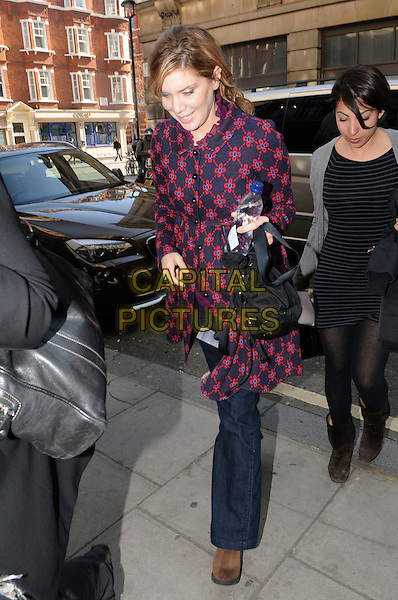 ALISON KRAUSS .Arriving at BBC Radio 2, London, England..March 21st, 2011.full length blue navy pink red floral print jacket coat bag purse .CAP/IA.©Ian Allis/Capital Pictures.