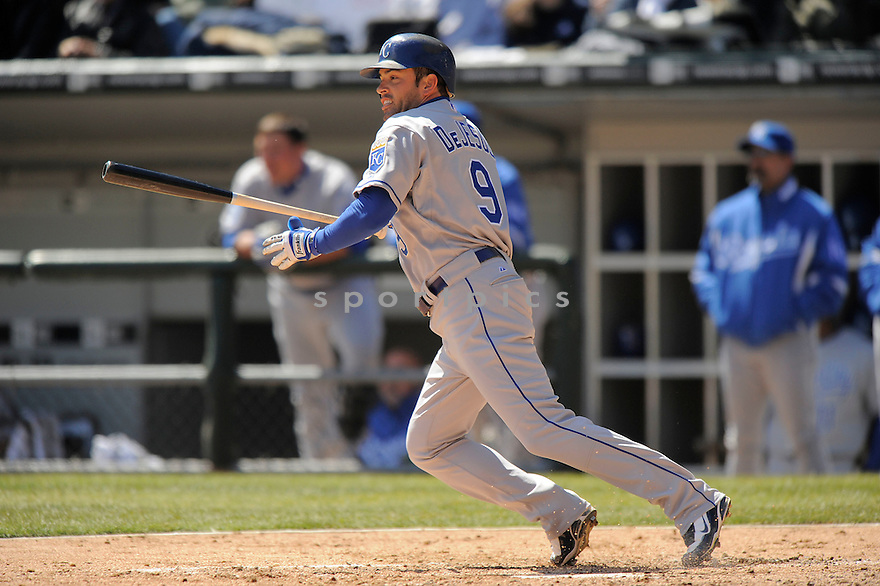 DAVID DEJESUS, of the Kansas CIty Royals, in action  during the Royals  game against the Chicago White Sox  on April 7, 2009 in Chicago, IL.  The White Sox beat  the Royals  4-2 in Chicago,