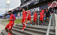 Commerce City, CO - Thursday June 08, 2017: Kellyn Acosta, Christian Pulisic, Bobby Wood, Graham Zusi and DaMarcus Beasley during their 2018 FIFA World Cup Qualifying Final Round match versus Trinidad & Tobago at Dick's Sporting Goods Park.