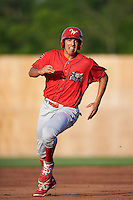 Williamsport Crosscutters first baseman Darick Hall (46) running the bases during a game against the Auburn Doubledays on June 25, 2016 at Falcon Park in Auburn, New York.  Auburn defeated Williamsport 5-4.  (Mike Janes/Four Seam Images)