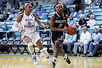 22 November 2016: Charleston Southern's Ke'Asia Jackson (3) and North Carolina's Stephanie Watts (5). The University of North Carolina Tar Heels hosted the Charleston Southern University Buccaneers at Carmichael Arena in Chapel Hill, North Carolina in a 2016-17 NCAA Women's Basketball game. UNC won the game 93-77.