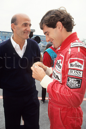 1990 Mexico. The late Brian Hart Engineer with BRAZILIAN  AYRTON SENNA,NOW WITH MCLAREN HONDA AT MEXICAN GP 1990.