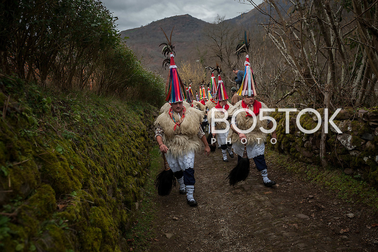 "Bellringers, known as 'Joaldunak' in Basque language, march shaking big cowbells during the celebration of an ancient traditional carnival. Ituren (Basque Country). January 30, 2017. The ""Joaldunak"" (""those who play the bell"") is a character that takes part in the carnival at the villages of Ituren and Zubieta carrying sheep furs and big cowbells tied to their backs to wake up the earth, looking for a good new year, a good harvest and to keep away the bad spirits. (Gari Garaialde / BostokPhoto)"