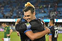 San Jose, CA - Saturday May 06, 2017: Anibal Godoy, Chris Wondolowski after a Major League Soccer (MLS) match between the San Jose Earthquakes and the Portland Timbers at Avaya Stadium.