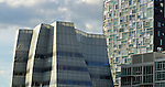 Jean Nouvel's 100 11th Avenue and Frank Gehry's IAC Building as seen from The High Line in New York City.