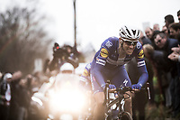 Niki Terpstra (NED/Quick-Step Floors) &amp; Yves Lampaert (BEL/Quick Step Floors) leading the race up the Oude Kwaremont cobbles. <br /> <br /> 61th E3 Harelbeke 2018 (1.UWT)<br /> Harelbeke &rsaquo; Harelbeke - BEL (206km)