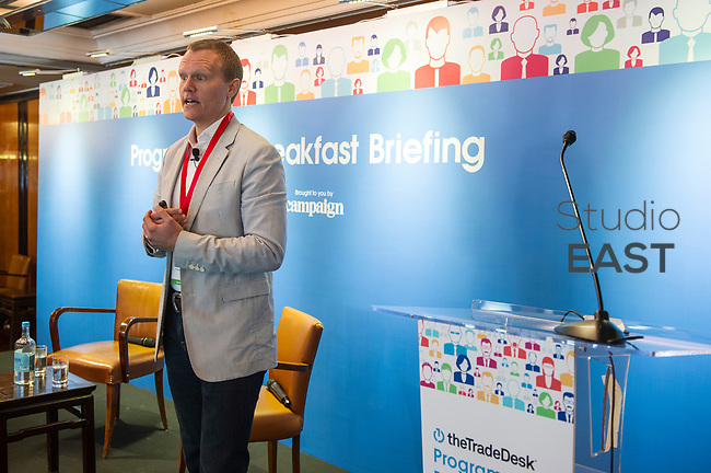 "Presentation ""Programmatic - regaining a sense of time and place"" by Scott McBride, Chief Digital Officer, IPG Mediabrands, Singapore, during the The Trade Desk Programmatic Breakfast Briefing on 13July 2017 in the China Club, Hong Kong. Photo by Lucas Schifres"