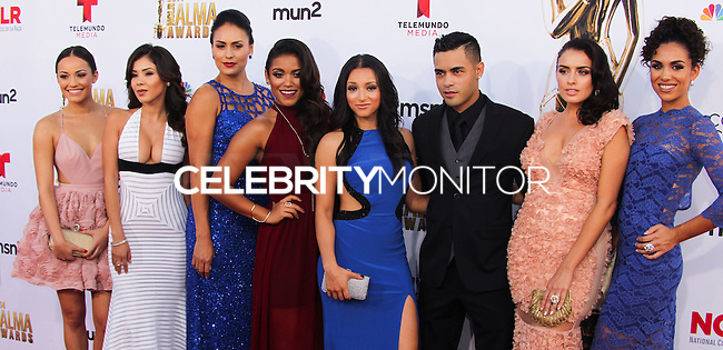 PASADENA, CA, USA - OCTOBER 10: Danielle Vega, Gabriel Chavarria, Tracy Perez, Andrea Sixtos, Vannessa Vasquez, Vivian Lamolli, Alicia Sixtos arrive at the 2014 NCLR ALMA Awards held at the Pasadena Civic Auditorium on October 10, 2014 in Pasadena, California, United States. (Photo by Celebrity Monitor)