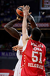 Real Madrid's Othello Hunter and Crvena Zvezda Mts Belgrade's Milko Bjelica during Turkish Airlines Euroleague match between Real Madrid and Crvena Zvezda Mts Belgrade at Wizink Center in Madrid, Spain. March 10, 2017. (ALTERPHOTOS/BorjaB.Hojas)