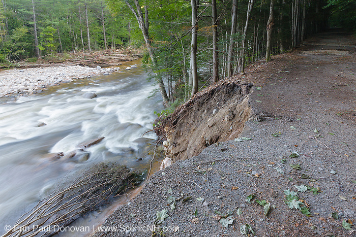 Trail washout along the Lincoln Woods Trail next to the East Branch of the Pemigewasset River in Lincoln, New Hampshire from Tropical Storm Irene in 2011. This tropical storm / hurricane caused massive destruction along the East Coast of the United States and the White Mountain National Forest of New Hampshire was officially closed during the storm.