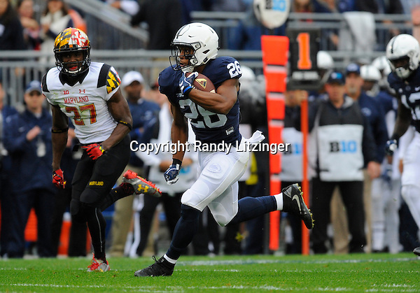 08 October 2016:  Penn State RB Saquon Barkley (26) rushed for over 200 yards. The Penn State Nittany Lions defeated the Maryland Terrapins 38-14 at Beaver Stadium in State College, PA. (Photo by Randy Litzinger/Icon Sportswire)