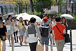 July 19, 2015, Tokyo, Japan - A heat wave envelops much of Japan on Sunday, July 19, 2015, sending temperatures soaring as high as to 36 degrees in the Shinjuku district of the nations capital as the Meteorological Agency officially declares the end of the 2015 rainy season for the metropolitan Tokyo area. (Photo by Natsuki Sakai/AFLO) AYF -mis-