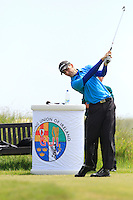 Sean Maloney (Dunmurry Springs) on the 1st tee during Round 1 of the Irish Amateur Close Championship at Seapoint Golf Club on Saturday 7th June 2014.<br /> Picture:  Thos Caffrey / www.golffile.ie