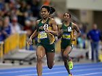 BROOKINGS, SD - FEBRUARY 25:  Rose Jackson from North Dakota State University leads the field during the women's 200 meter dash at the 2017 Summit League Indoor Track and Field Championship Saturday afternoon in Brookings, SD. (Photo by Dave Eggen/Inertia)