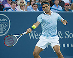 Roger Federer (SUI) loses to Rafael Nadal (ESP), 5-7, 6-4, 6-3 at the Western & Southern Open in Mason, OH on August 16, 2013.
