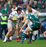 Exeter Chiefs' Harry Williams. in action during todays match<br /> <br /> Photographer Bob Bradford/CameraSport<br /> <br /> Aviva Premiership Round 20 - London Irish v Exeter Chiefs - Sunday 15th April 2018 - Madejski Stadium - Reading<br /> <br /> World Copyright &copy; 2018 CameraSport. All rights reserved. 43 Linden Ave. Countesthorpe. Leicester. England. LE8 5PG - Tel: +44 (0) 116 277 4147 - admin@camerasport.com - www.camerasport.com