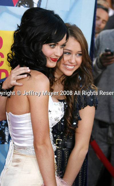 LOS ANGELES, CA. - September 07: Singers Katy Perry and Miley Cyrus arrive at the 2008 MTV Video Music Awards at Paramount Pictures Studios on September 7, 2008 in Los Angeles, California.